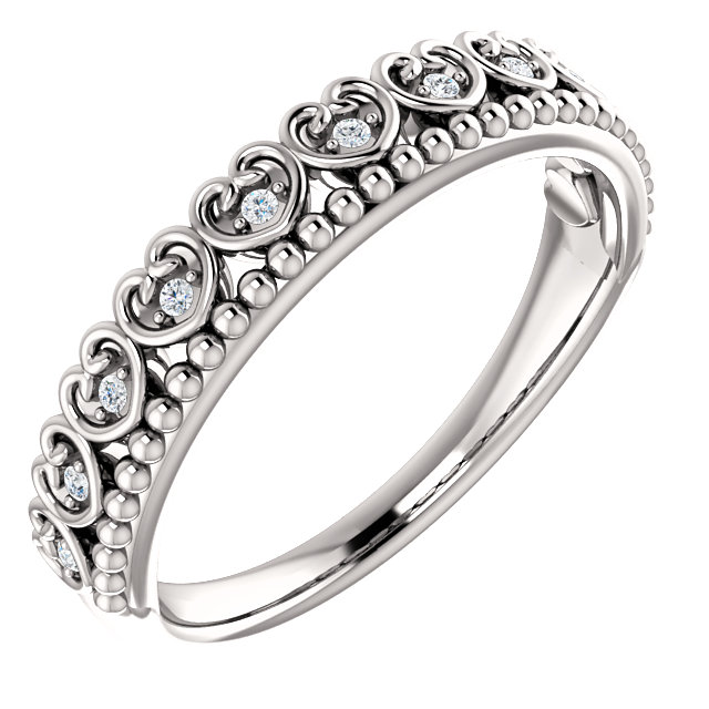 Fine Quality 14 Karat White Gold .05 Carat Total Weight Diamond Beaded Heart Stackable Ring