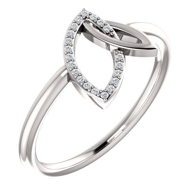Contemporary 14 Karat White Gold .05 Carat Total Weight Diamond Double Leaf Ring
