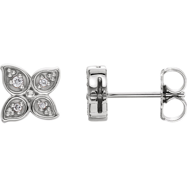 Low Price on Quality 14 KT White Gold  .05 Carat TW Diamond Leaf Earrings