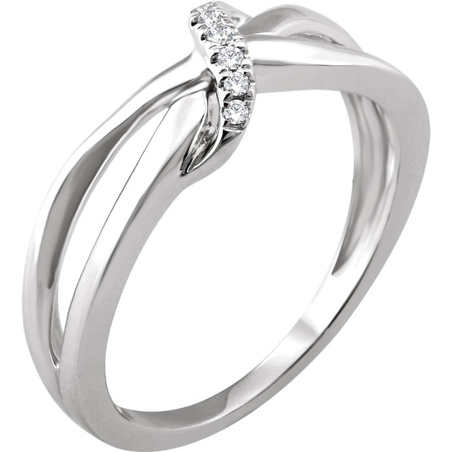 Fine 14 KT White Gold .05 Carat TW Diamond Negative Space Ring