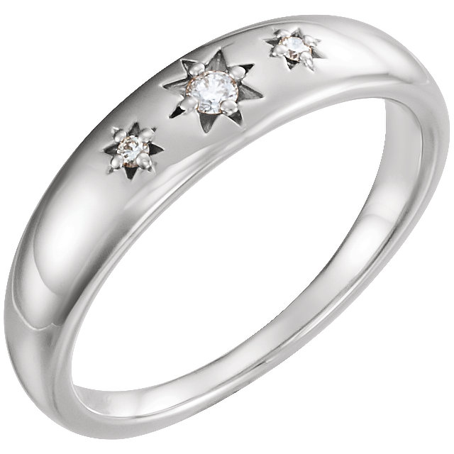 Quality 14 KT White Gold .05 Carat TW Diamond Starburst Ring