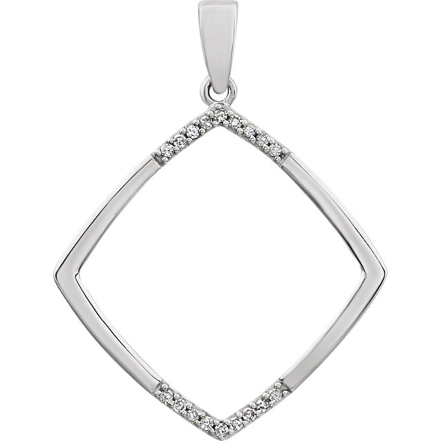 Great Gift in 14 Karat White Gold .05 Carat Total Weight Geometric Diamond Pendant