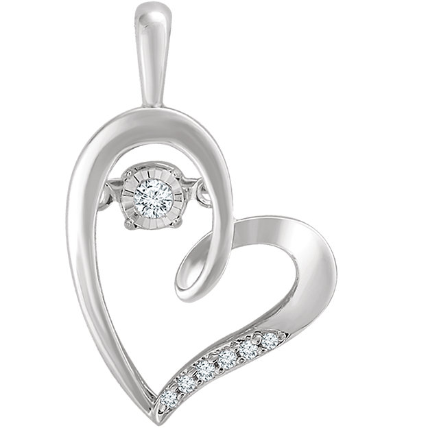Stylish 14 Karat White Gold .05 Carat Total Weight Mystara Round Genuine Diamonds Heart Pendant