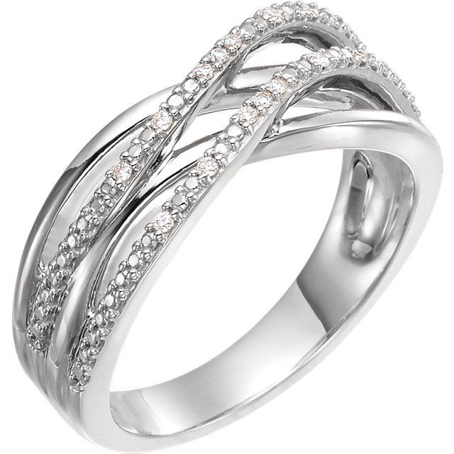 14 KT White Gold .06 Carat TW Diamond Criss-Cross Ring
