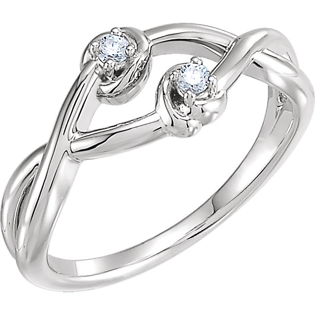 Easy Gift in 14 Karat White Gold .06 Carat Total Weight Diamond Double Knot Ring