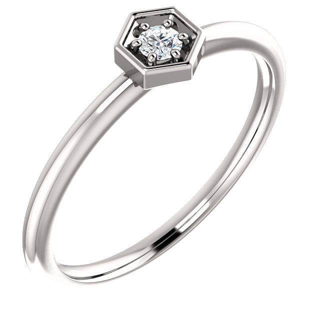 Quality 14 KT White Gold .06 Carat TW Diamond Hexagon Stackable Ring