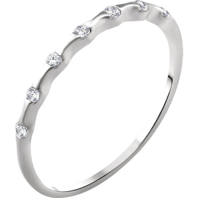 Perfect Gift Idea in 14 Karat White Gold .06 Carat Total Weight Diamond Stackable Ring