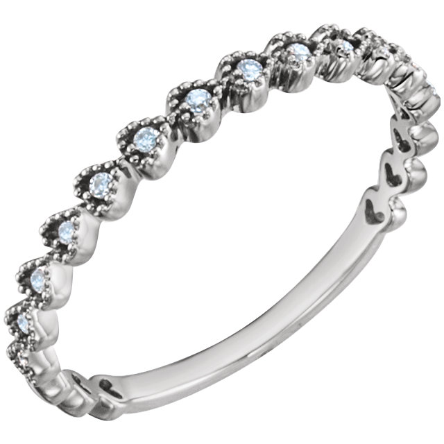 Great Deal in 14 Karat White Gold .06 Carat Total Weight Diamond Stackable Ring
