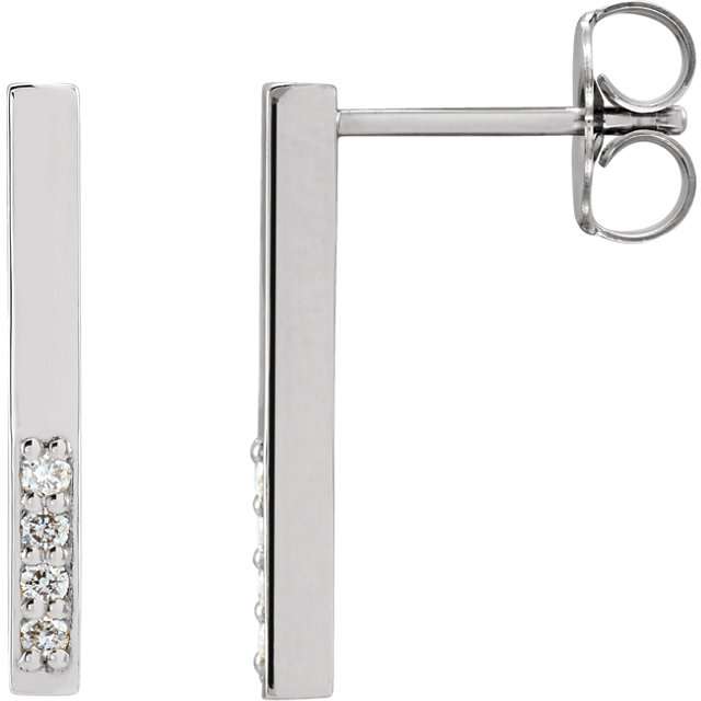 Great Gift in 14 Karat White Gold .07 Carat Total Weight Diamond Geometric Dangle Earrings