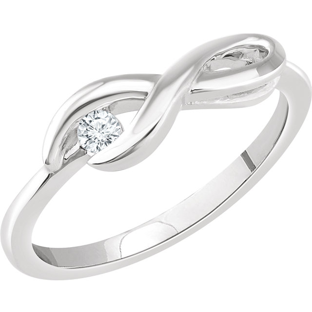 14 Karat White Gold .07 Carat Total Weight Diamond Infinity-Inspired Ring