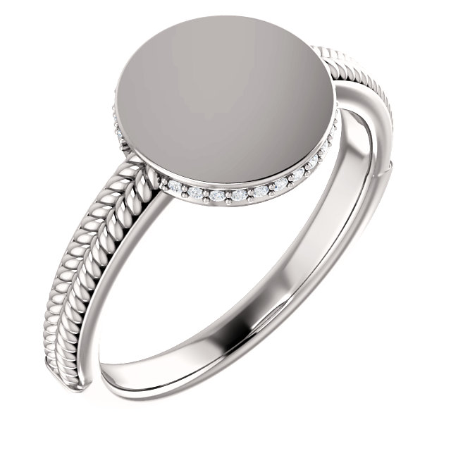 Shop Real 14 KT White Gold .07 Carat TW Diamond Ladies Signet Ring