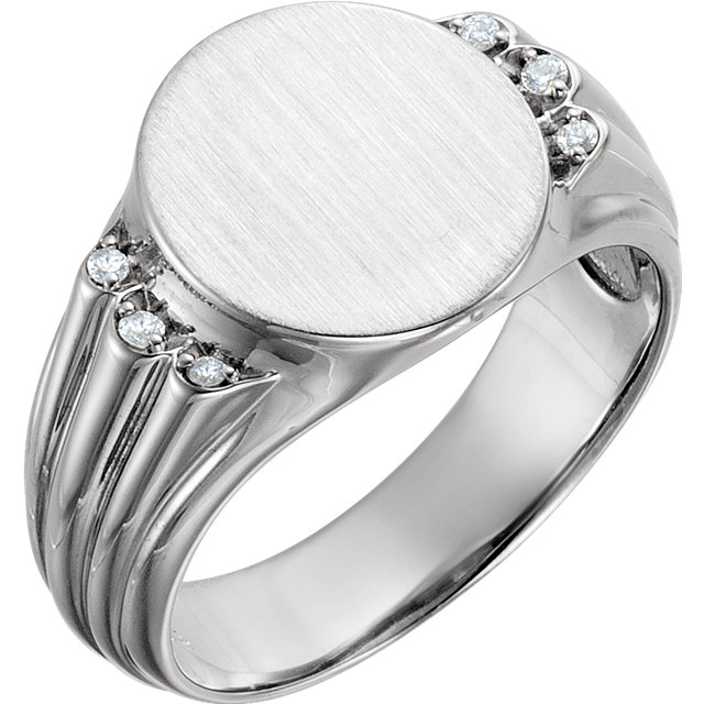 14 Karat White Gold .07 Carat Diamond Men's Oval Signet Ring