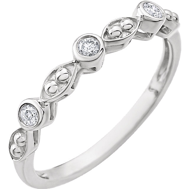 Genuine 14 KT White Gold .08 Carat TW Beaded Diamond Ring