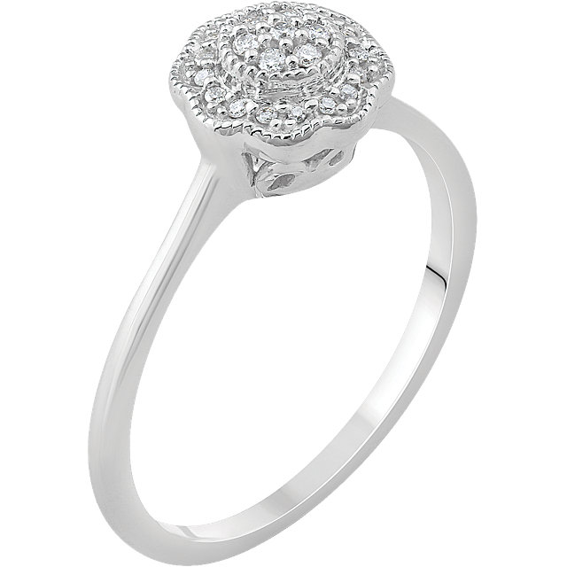 Shop Real 14 KT White Gold .08 Carat TW Diamond Cluster Ring