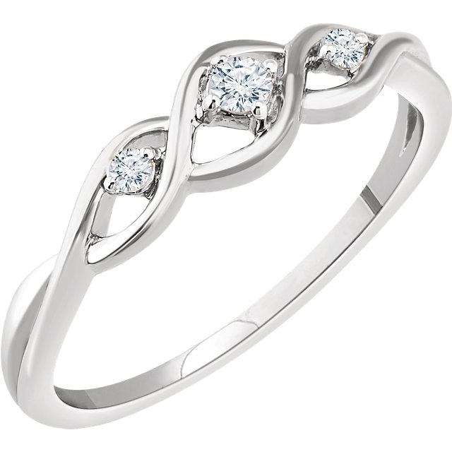 14 Karat White Gold .08 Carat Diamond Freeform Ring