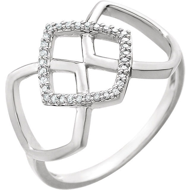 Great Buy in 14 KT White Gold .08 Carat TW Diamond Geometric Ring