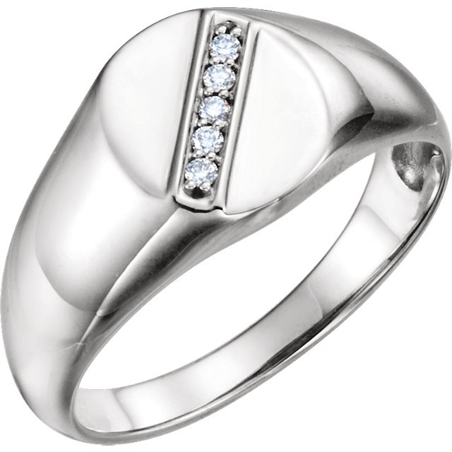 Fine 14 KT White Gold .08 Carat TW Diamond Men's Oval Signet Ring