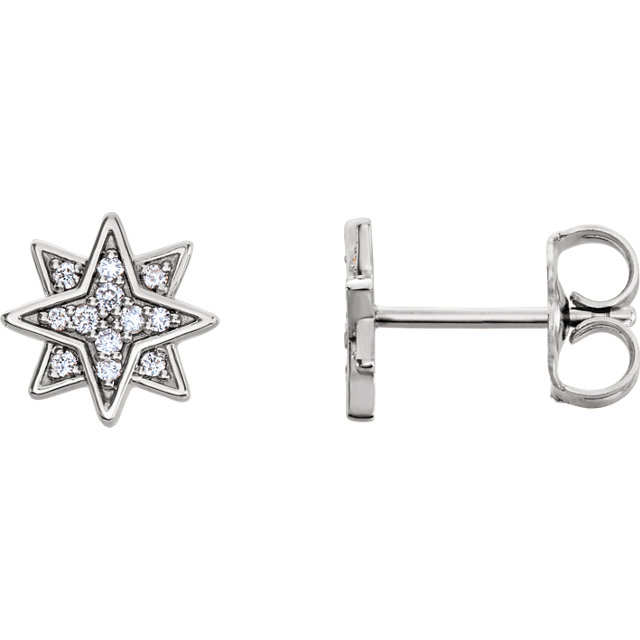 Must See 14 Karat White Gold .08 Carat Total Weight Diamond Star Earrings