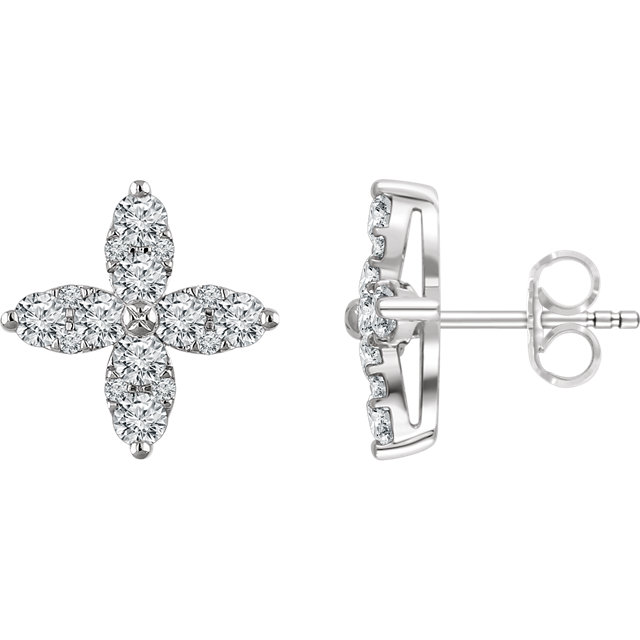 Wonderful 14 Karat White Gold 0.25 Carat Total Weight Diamond Flower Earrings