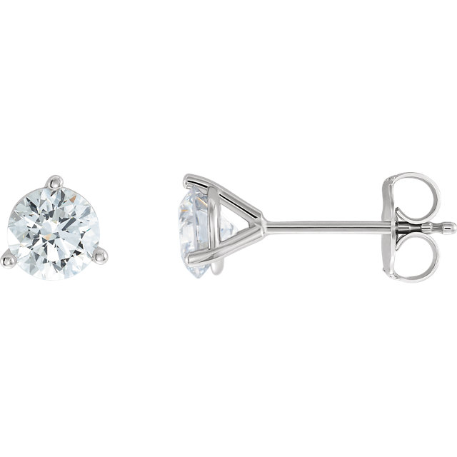 Stunning 14 Karat White Gold 0.25 Carat Total Weight Lab-Grown Diamond Stud Earrings