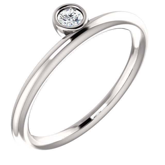 Great Buy in 14 KT White Gold 0.10 Carat TW Diamond Asymmetrical Stackable Ring