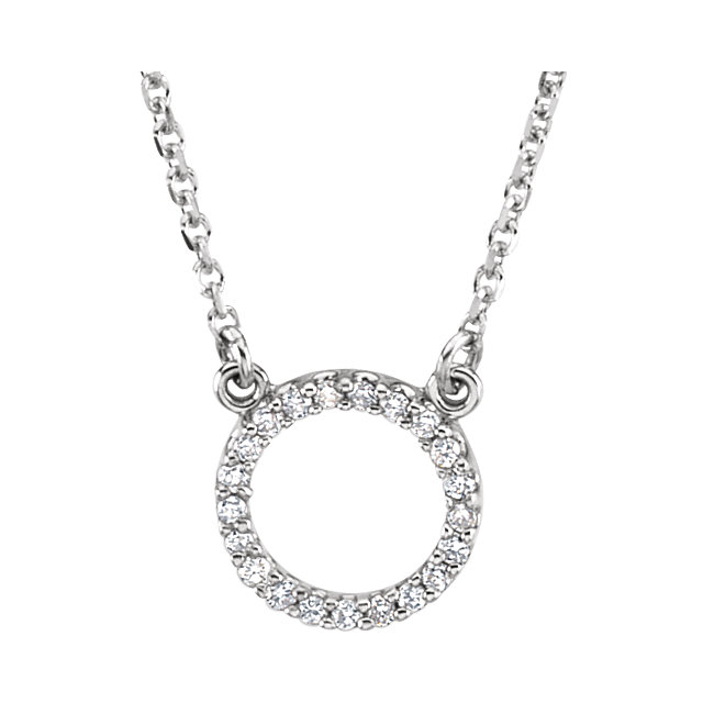 14 Karat White Gold 0.10 Carat Diamond Circle 16