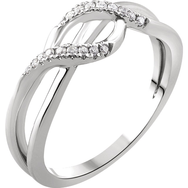 Contemporary 14 Karat White Gold 0.10 Carat Total Weight Diamond Criss-Cross Ring