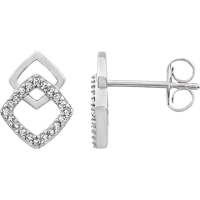 Appealing Jewelry in 14 Karat White Gold 0.10 Carat Total Weight Diamond Geometric Earrings