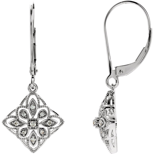 Gorgeous 14 Karat White Gold 0.10 Carat Total Weight Diamond Granulated Filigree Earrings