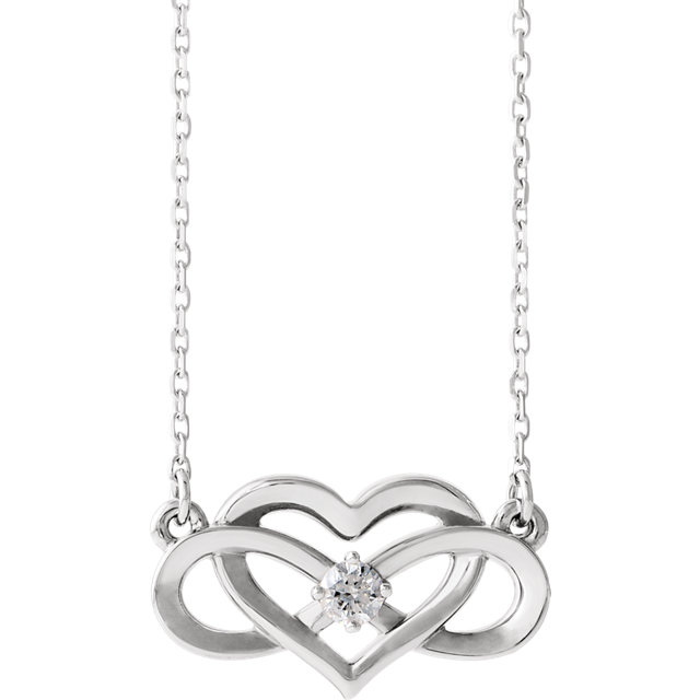 Fantastic 14 Karat White Gold 0.10 Carat Total Weight Round Genuine Diamond Infinity-Inspired Heart Necklace