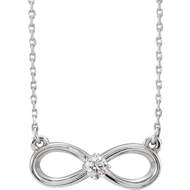 Pleasing 14 KT White Gold 0.10 CT Round Genuine Diamond Infinity-Inspired Necklace