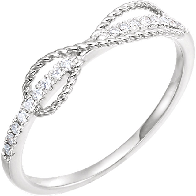 Perfect Jewelry Gift 14 Karat White Gold 0.10 Carat Total Weight Diamond Infinity-Inspired Ring
