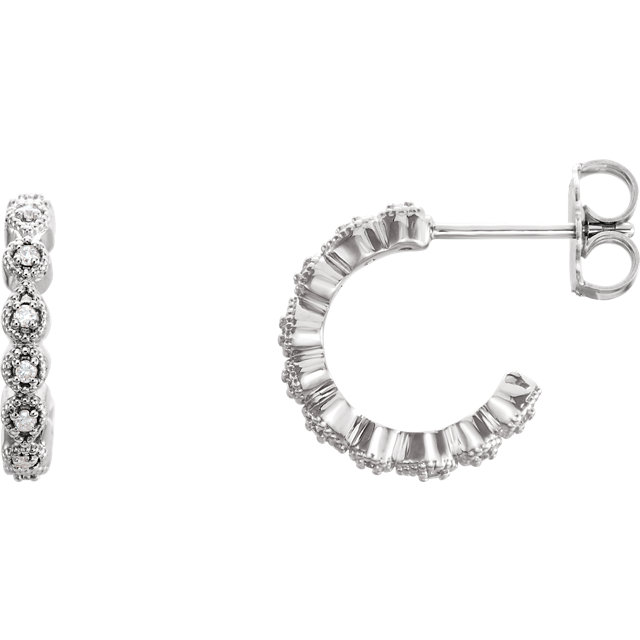 Appealing Jewelry in 14 Karat White Gold 0.10 Carat Total Weight Diamond J-Hoop Earring