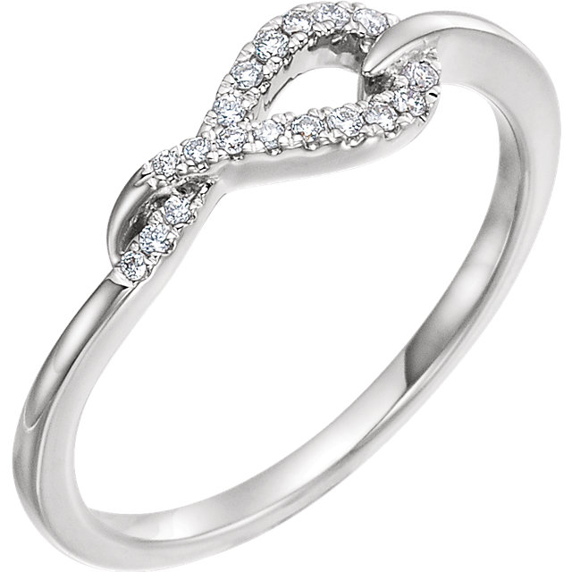 Genuine 14 Karat White Gold 0.10 Carat Diamond Knot Ring