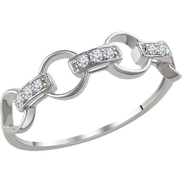 Genuine 14 Karat White Gold 0.10 Carat Diamond Link Ring