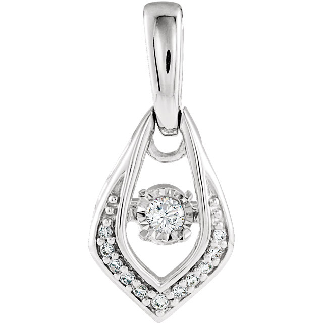 Wonderful 14 Karat White Gold 0.10 Carat Total Weight Diamond Pendant