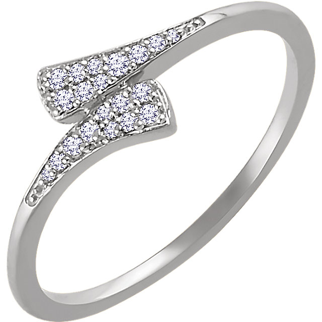 White Diamond Ring in 14 Karat White Gold 1/10 Carat Diamond Ring
