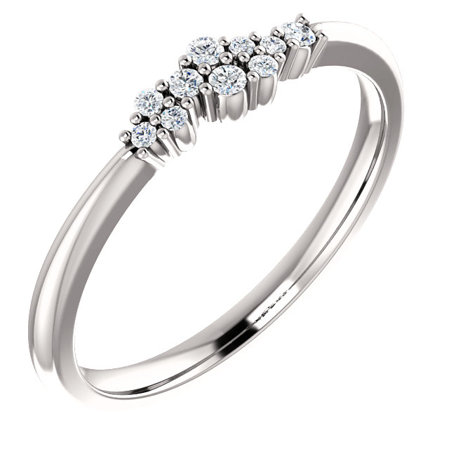 Perfect Jewelry Gift 14 Karat White Gold 0.10 Carat Total Weight Diamond Stackable Cluster Ring