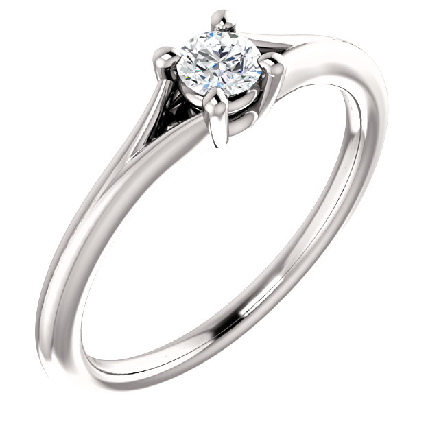 Jewelry Find 14 KT White Gold 0.10 Carat Diamond Youth Ring