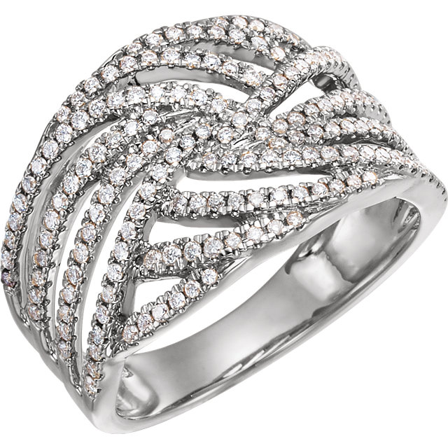 14 Karat White Gold 0.50 Carat Diamond Accented Criss-Cross Ring
