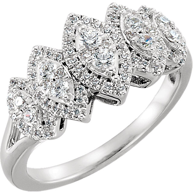 Great Gift in 14 Karat White Gold 0.50 Carat Total Weight Diamond Accented Engagement Ring