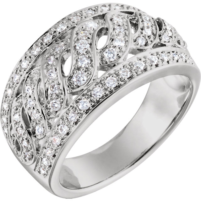 Genuine 14 KT White Gold 0.50 Carat TW Diamond Band