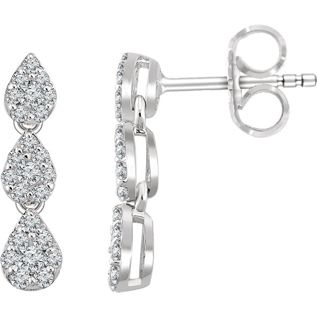 Wonderful 14 Karat White Gold 0.50 Carat Total Weight Diamond Cluster Dangle Earrings