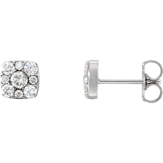 Easy Gift in 14 Karat White Gold 0.50 Carat Total Weight Diamond Cluster Earrings