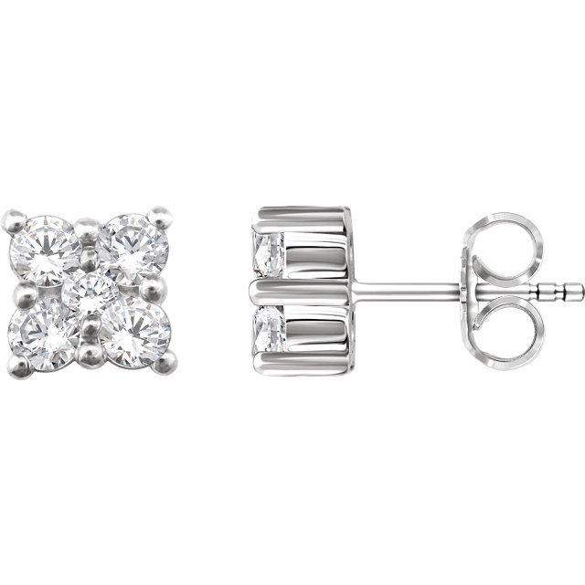 Appealing Jewelry in 14 Karat White Gold 0.50 Carat Total Weight Diamond Cluster Earrings