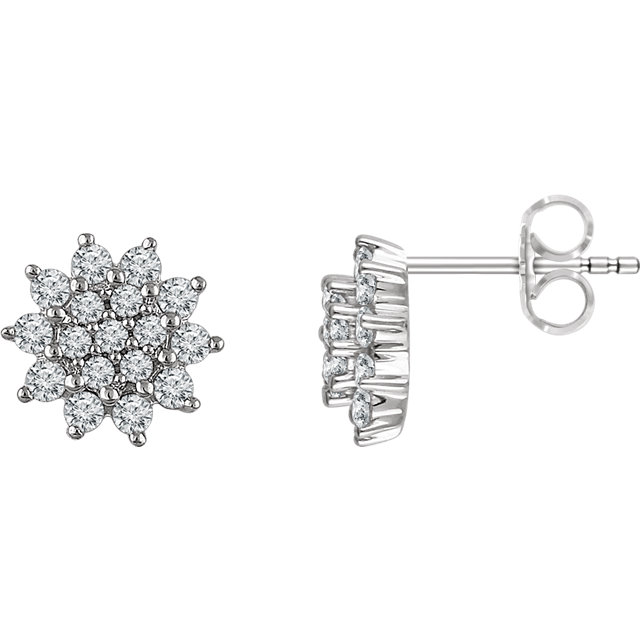 Gorgeous 14 Karat White Gold 0.50 Carat Total Weight Diamond Cluster Stud Earrings