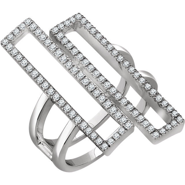 Deal on 14 KT White Gold 0.50 Carat TW Diamond Double ReCaratangle Geometric Diamond Ring