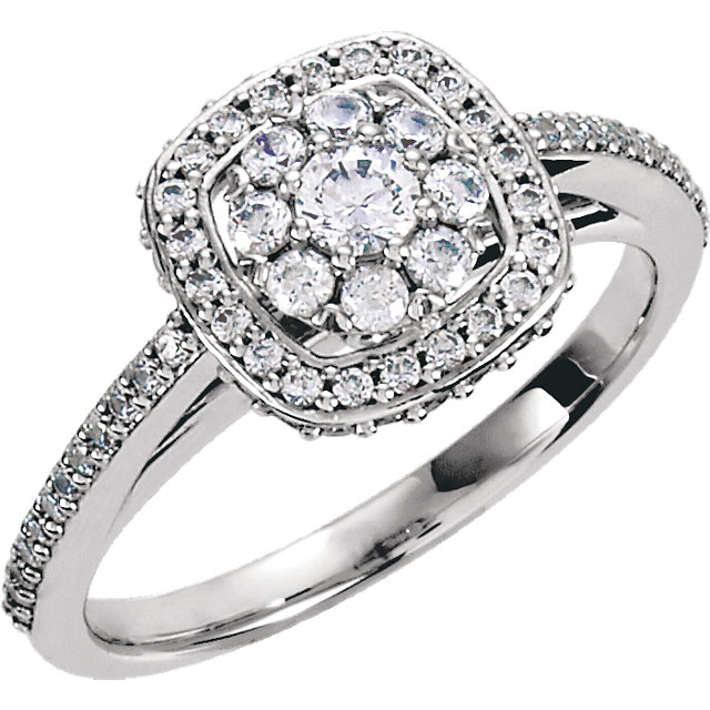 Genuine 14 Karat White Gold 0.50 Carat Diamond Engagement Ring