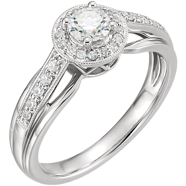 14 Karat White Gold 0.50 Carat Diamond Engagement Ring