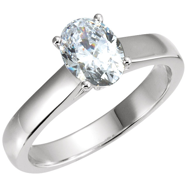 Fine 14 KT White Gold 0.50 Carat TW Diamond Engagement Ring